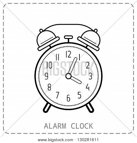 Alarm clock, flat linear icon. Clock isolated on white background. Vector illustration