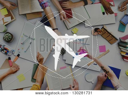 Airplane Transport Travel Journey Graphic Concept