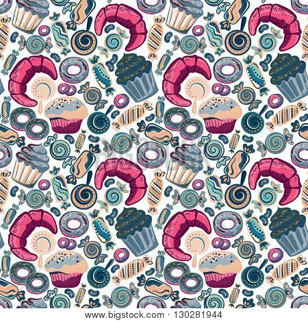 Yummy colorful sweet lollipop, candy, donuts, cupcake, dessert, croissant, bagel seamless pattern. Vector background.
