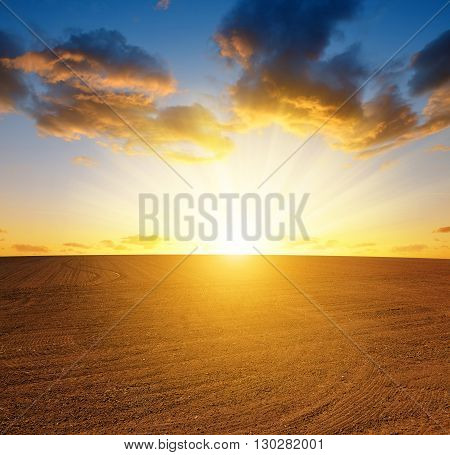 Plowed field and cloudy sky at sunset