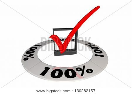 100 Percent One Hundred Full Total Score Number 3d Illustration