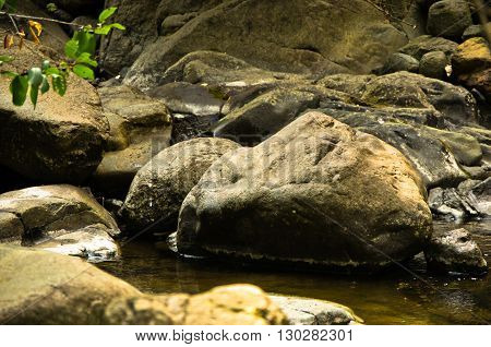Detail of rocks in water at Black river gorge, west Serbia