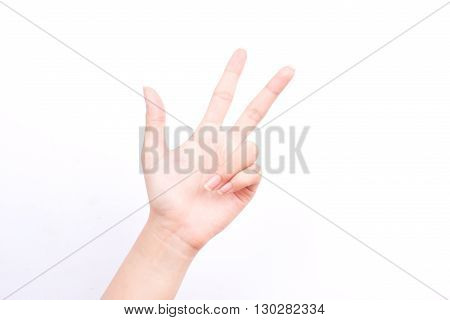 finger hand symbols isolated concept three fingers salute congratulation on white background