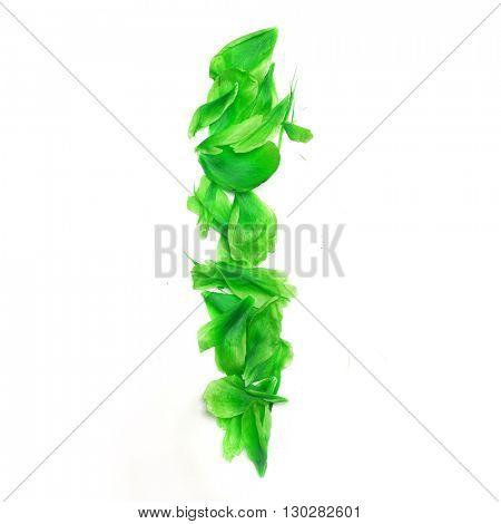 Green petals digits. Digit 1