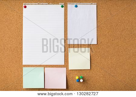 business, information, memo, management and education concept - close up of blank stickers and note paper on office cork board
