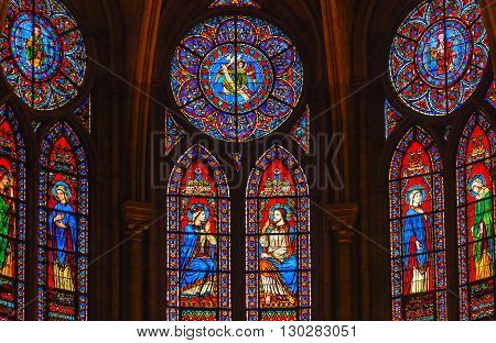 PARIS, FRANCE - MAY 31, 2015 Jesus Christ Mary Angels Stained Glass Notre Dame Cathedral Paris France. Notre Dame was built between 1163 and 1250AD.