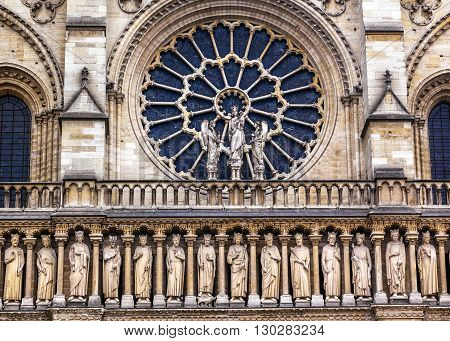 Kings Facade Rose Window Notre Dame Cathedral Paris France. Notre Dame was built between 1163 and 1250AD.