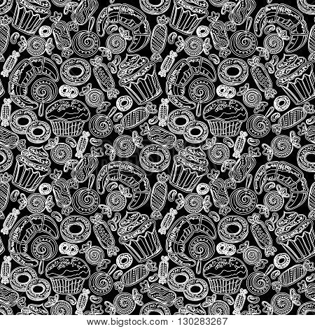 Sketch pastry hand drawn seamless pattern. Doodle collection confections. Colorful background