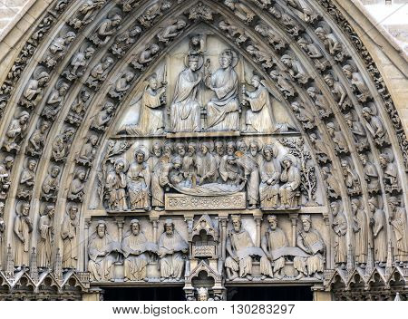 Viirgin Door Portal Biblical Statues Notre Dame Cathedral Paris France. Notre Dame was built between 1163 and 1250AD.