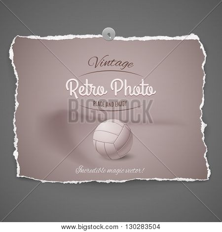 european football soccer leather ball vintage retro photo with pushpin on gray background