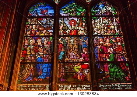 PARIS, FRANCE - MAY 31, 2015 Saint Madeline Sophie Barat founder Society of Sacred Heart Stained Glass Saint Severin Church Paris France. Saint Severin one of oldest churches Paris located in the Latin Quarter. Built in the 1500s