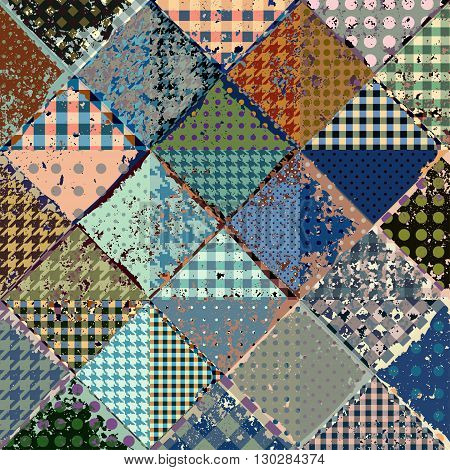 Vector abstract seamless patchwork pattern from blue and beige triangles with grunge effect.