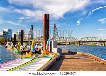 Dragon Boats And Hawthorne Bridge