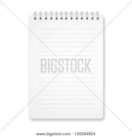 Blank vertical spiral notebook on white background with soft shadows. illustration.
