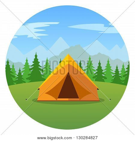 Cartoon tent in a landscape of mountains icon. Tent, tourism.nature, Camping. journey, tent, mountains, forests. Vector flat design illustration. Summer tent tourism vector illustration in flat design