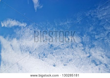Blue sky with a white cloud background