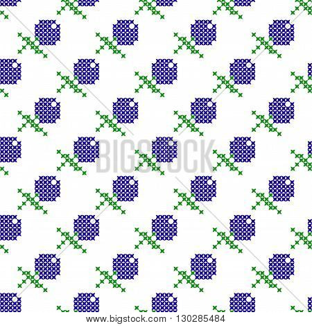 Seamless isolated texture with abstract embroidered blueberries with green leaves for tablecloth. Embroidery. Cross stitch.
