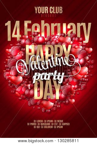 Valentine's Happy Day party invitation flyer background with hearts love themed elements. Ideal for cover or posters.