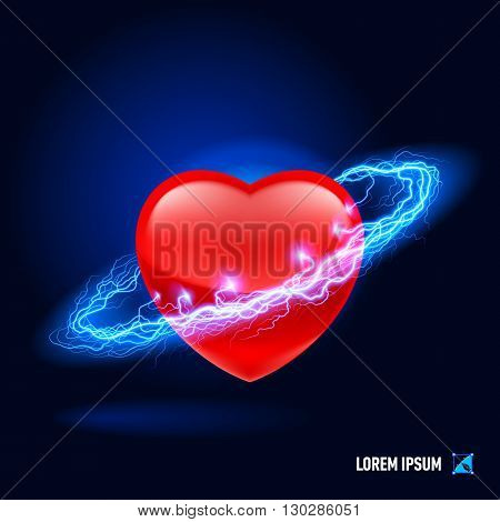 Red heart surrounded by a stream of blue energy in the space