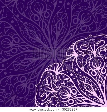 Vector ethnic mandala pink and purple pattern. Background for greeting card or invitation.