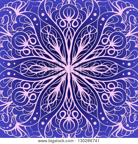 Vector hand drawn ethnic radial pink and blue ornamental background