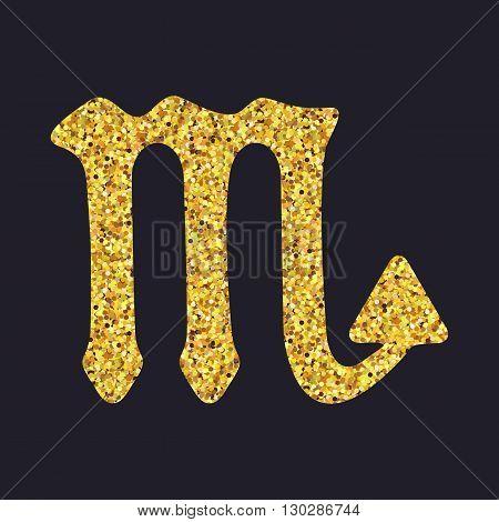 Golden Shiny Symbol Scorpio