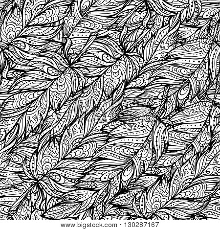 Vector black and white zendoodle feathers seamless pattern. Boho style.