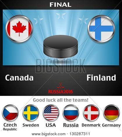 Final of the world championship hockey background with black puck. Vector graphic winter sport design