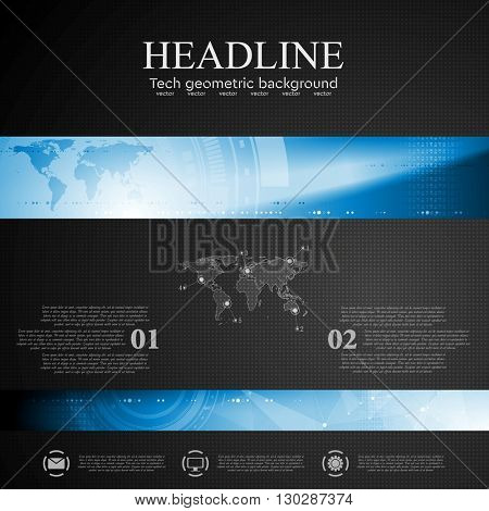 Brochure dark tech template with blue banner elements. Low poly, world map  and tech gear vector layout background