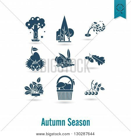 Set of Flat Autumn Icons. Simple and Minimalistic Style. Vector