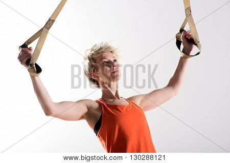 Strong Woman Pulling Fitness Cords