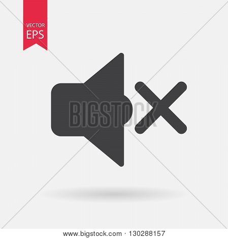 Sound off icon vector . Flat design. Sound off sign isolated on white background