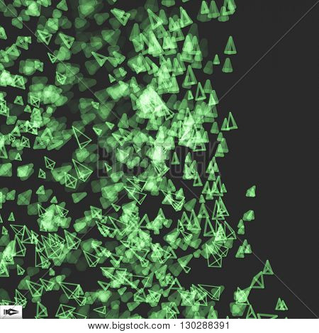 Array with Dynamic Emitted Particles. Abstract Dynamic Background. Vector Illustration. Bokeh Effect.