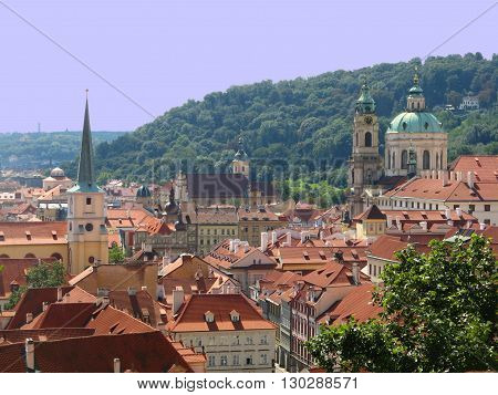 Terracotta rooftops of the old city in Prague, Czech Republic.