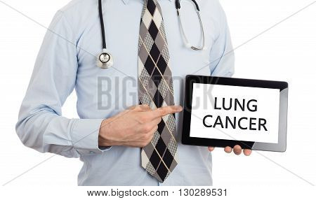 Doctor Holding Tablet - Lung Cancer