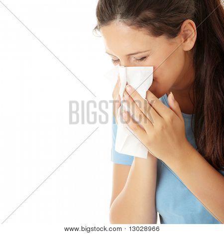 Teen Frau mit Allergien oder kalt, isolated on white Background