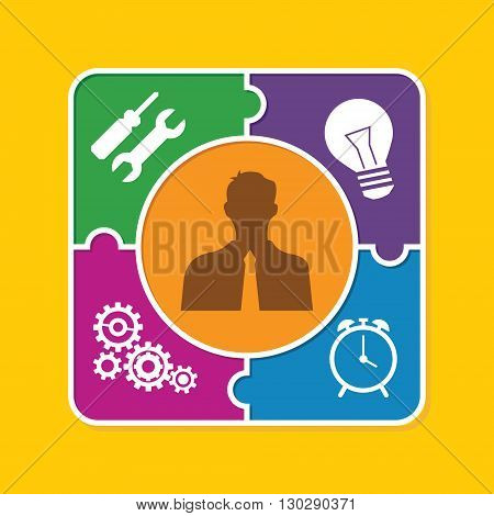 good personality people puzzle style illustration concept