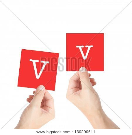 V written on cards held by hands