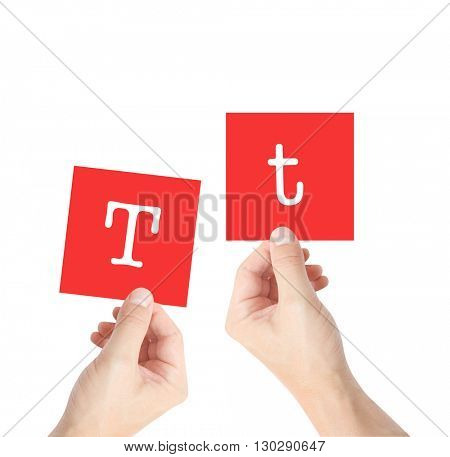 T written on cards held by hands