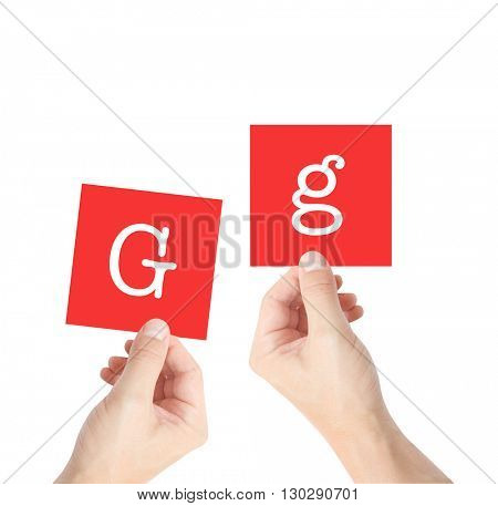 G written on cards held by hands