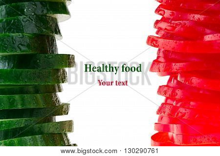 Pyramid from slices of bell pepper and cucumber. Italian flag. Frame with copy space. Concept art. Pattern. Food background.