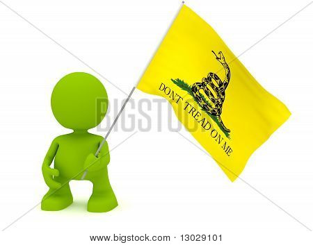 Holding The Gadsen Flag