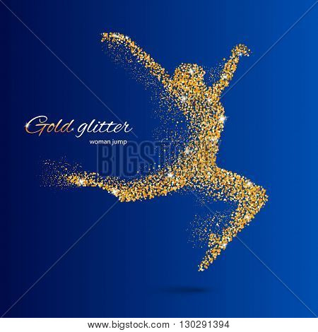 Dancing Woman in the Form of Gold Particles on Blue