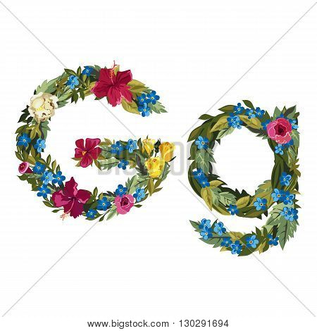 G letter. Flower capital alphabet. Colorful font. Uppercase and lowercase. Vector illustration. Grotesque style. Floral alphabet.