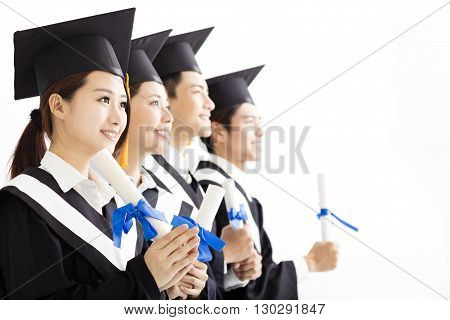 happy Group of graduation Looking to the Future