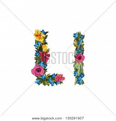 L letter. Flower capital alphabet. Colorful font. Uppercase and lowercase. Vector illustration. Grotesque style. Floral alphabet.