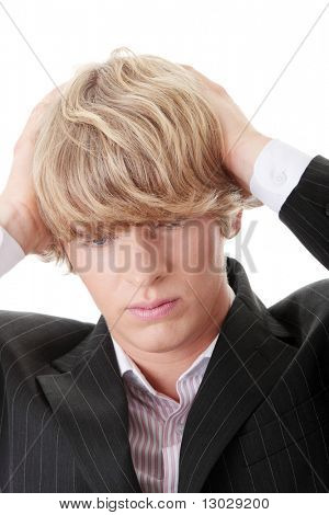 Young businessman with a big headache
