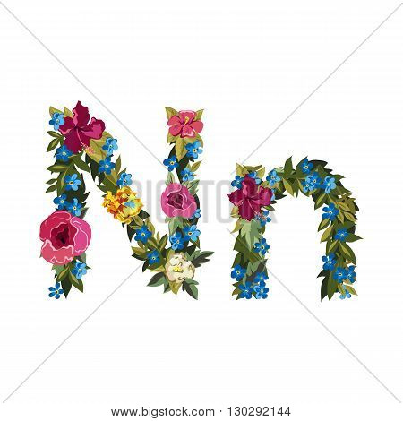 N letter. Flower capital alphabet. Colorful font. Uppercase and lowercase. Vector illustration. Grotesque style. Floral alphabet.