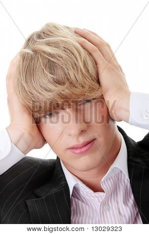 Young businessman with headache, isolated on white