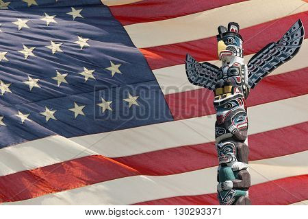 Totem Wood Pole Ion Usa Flag Background